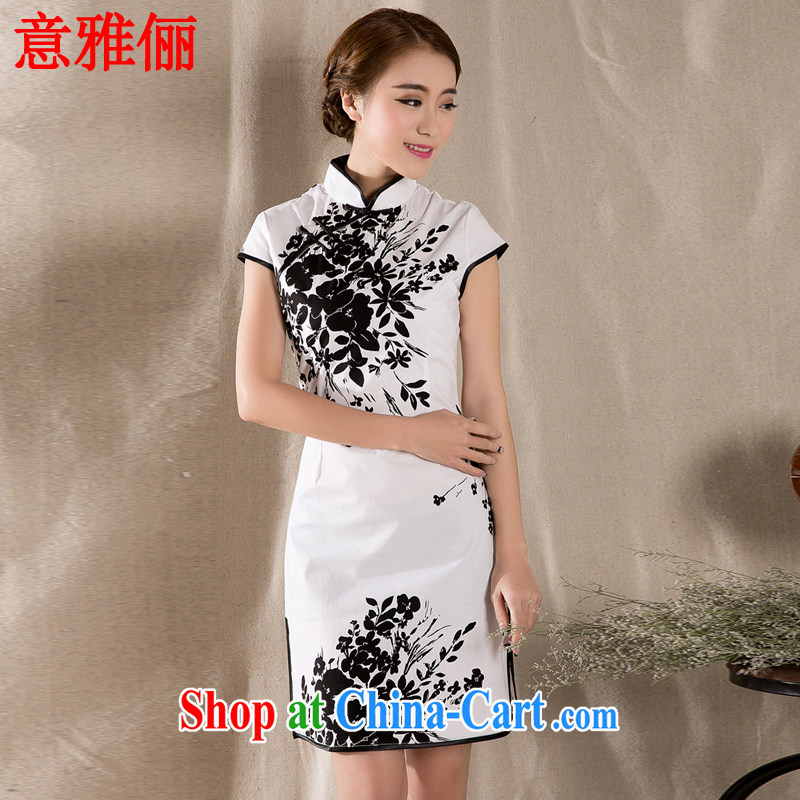 Jacob was an 2015 summer new stylish and refined antique cheongsam dress China wind stamp dresses L 477 white XL