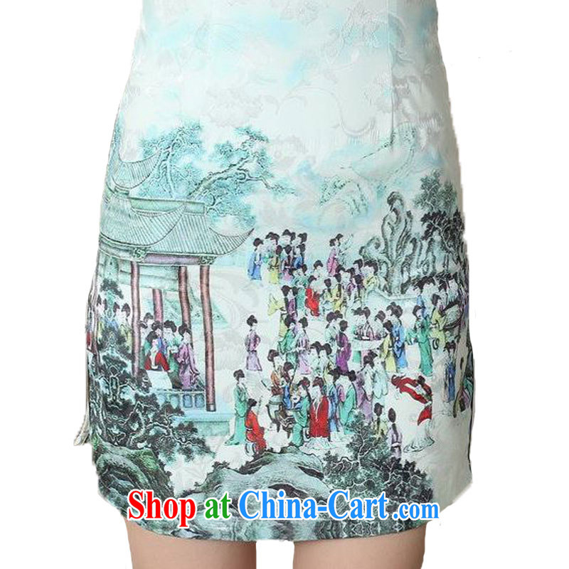 According to fuser summer stylish new ladies retro ethnic Wind is a tight Classic tray for cultivating short Chinese qipao dress LGD/D #0294 figure 2 XL, fuser, and shopping on the Internet