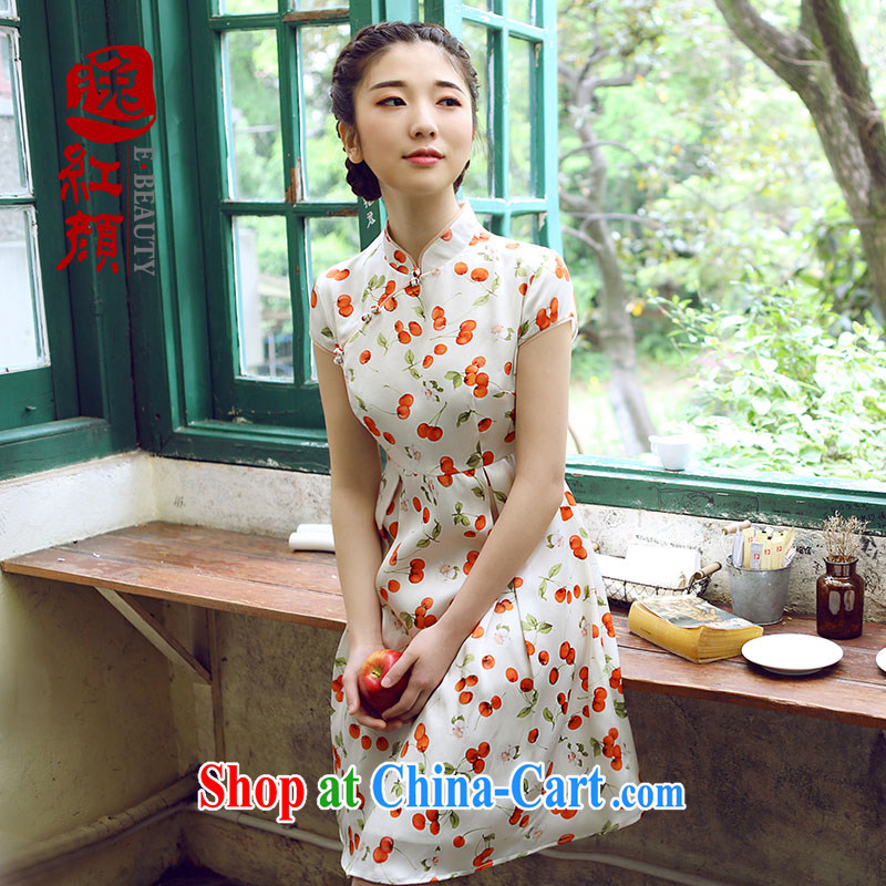 proverbial hero once and for all and Zhu Ying is silk China wind up collar dresses summer new 2015 women's clothing dresses ethnic wind white L