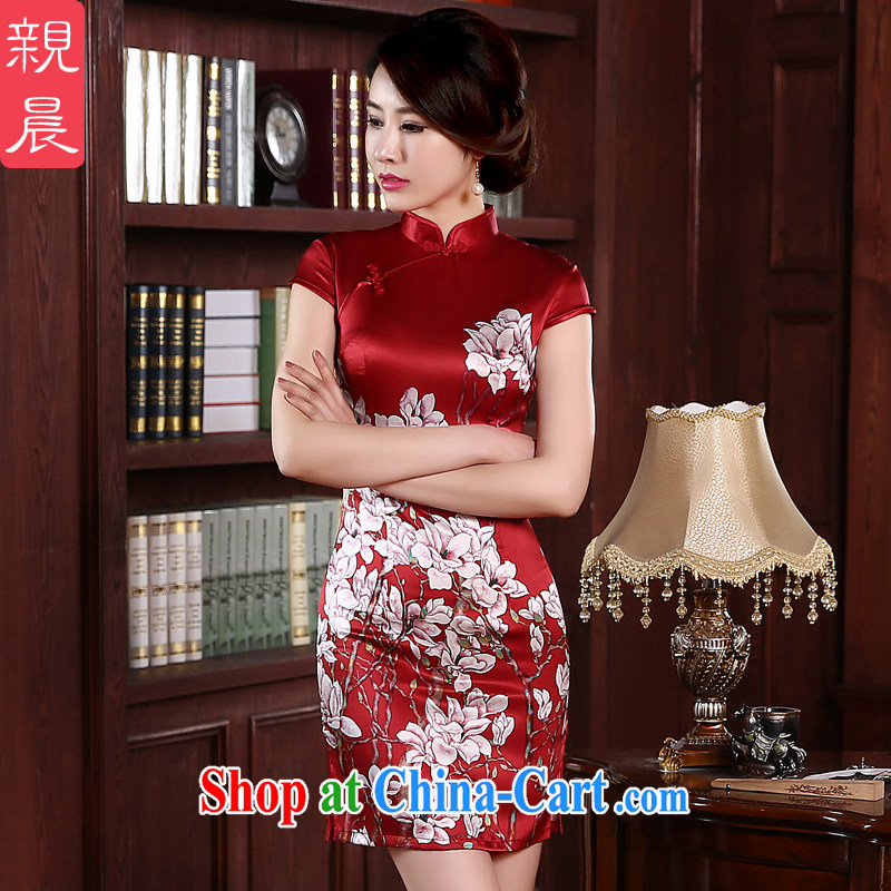 pro-am 2015 new daily sauna silk high spring and summer retro short Red Beauty stylish Silk Cheongsam short 2 XL