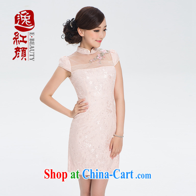 once and for all and fatally jealous Xin Yu-lace cheongsam dress retro elegant cheongsam dress 2015 summer improved stylish beauty pink XL
