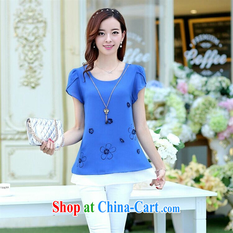 Ya-ting store 2015 summer female short-sleeved round-collar snow woven shirts loose the code sets and small fresh T-shirt T ? girls of red 3 XL