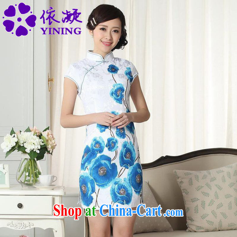 According to fuser new female Chinese improved cheongsam dress lady stylish jacquard cotton cultivating short Chinese qipao dress LGD/D #0292 figure 2 XL