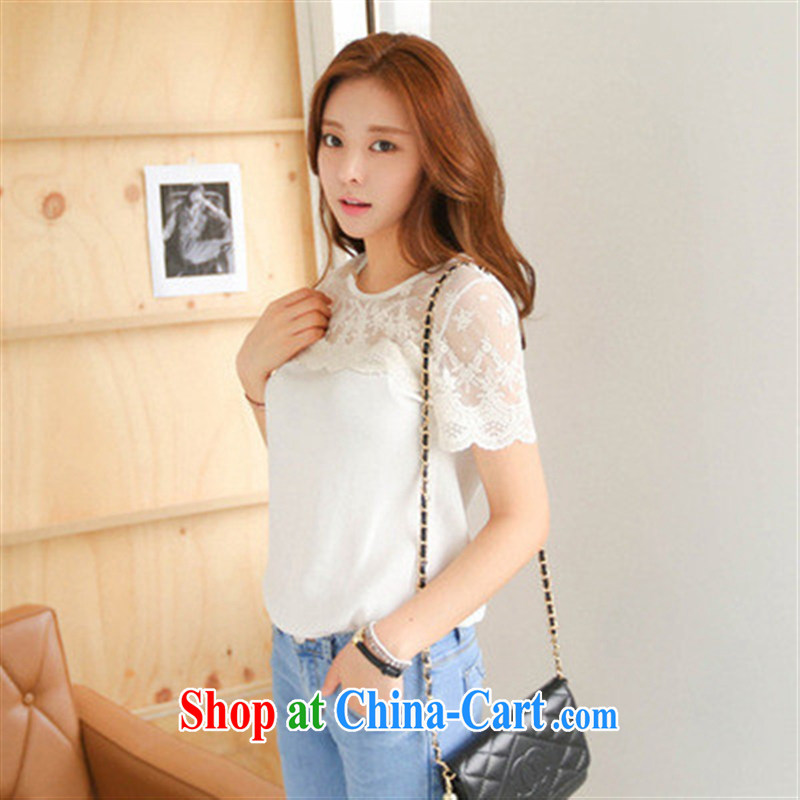 Ya-ting store small fresh blouses girls exposed shoulder snow woven shirts Korean lace short sleeve woven snow summer T ? white XL