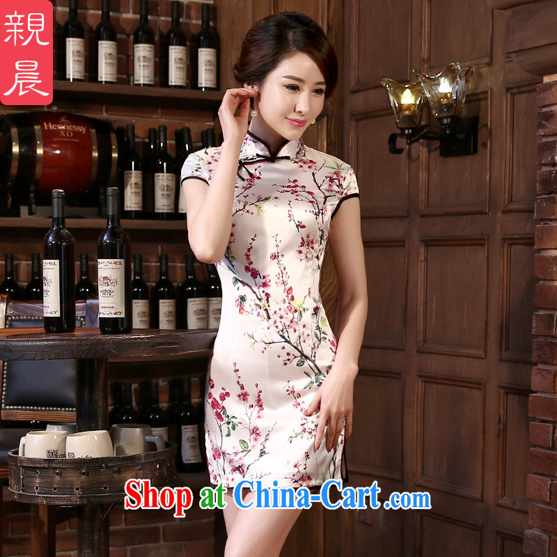 pro-am 2015 spring and summer new sauna silk retro upscale short cultivating improved modern day Silk Cheongsam short L
