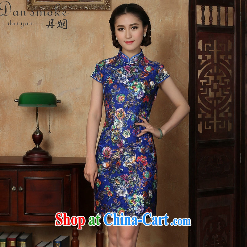 Dan smoke summer outfit New female Chinese improved lace up collar floral beauty retro royal blue is a tight short dresses such as the color 2 XL