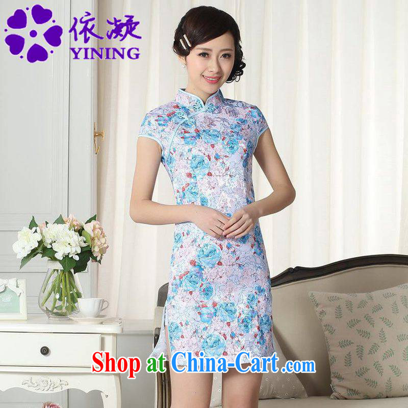 According to fuser new female Ethnic Wind improved Chinese qipao dress is a tight beauty short Chinese qipao dress LGD/D #0291 figure 2 XL