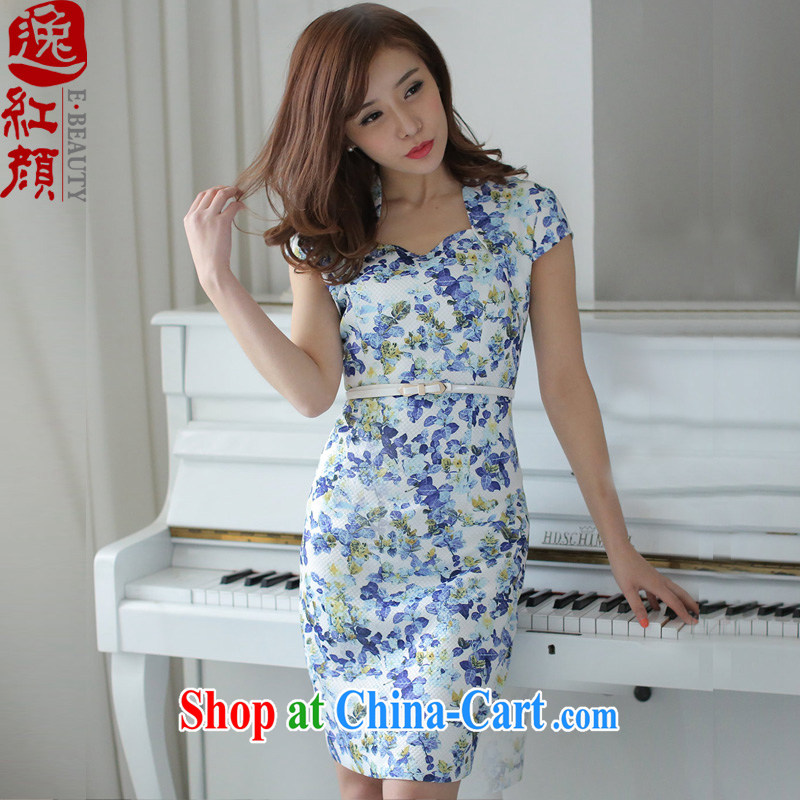 Once Jasmine fatally jealous ?? 2015 new summer stamp dress elegant and stylish beauty short skirt blue 2 XL