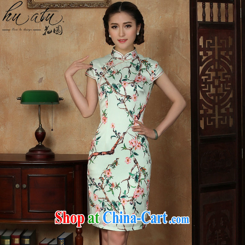Take the retro cheongsam dress summer new female emulation, Chinese improved emulation, and short dresses such as the color 2 XL