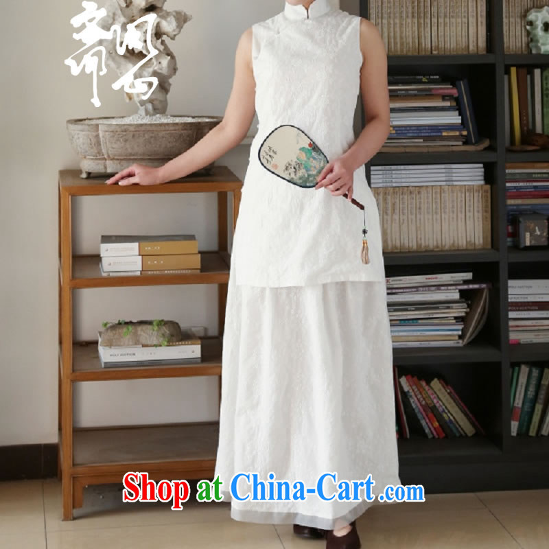 Asked about Ramadan and the elections as soon as possible and girls spring and summer new Chinese, short with embroidered quality pure cotton T-shirt 1927 White Dress _356 M code