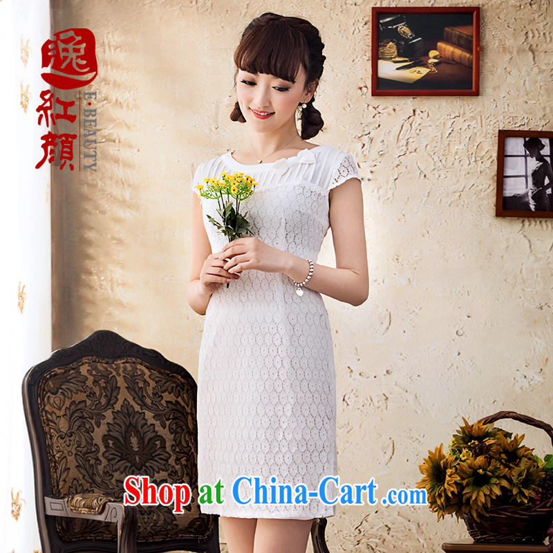 Once the proverbial hero, spring and summer new lace dresses and stylish beauty short-sleeved dresses comfortable, breathable and elegant white XL