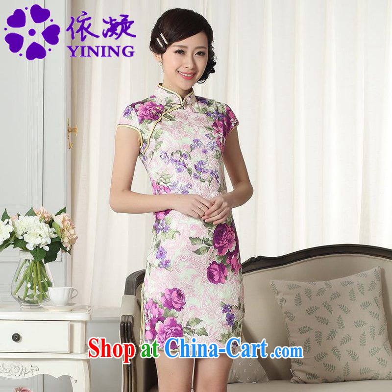 According to fuser summer stylish new female Ethnic Wind improved qipao, for a tight Classic tray port cultivating Chinese cheongsam dress LGD/D #0279 figure 2 XL