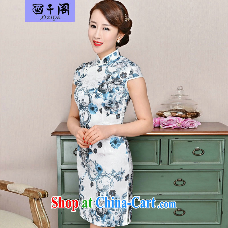 The sub-pavilion Western sub-cabinet dresses summer pack and skirt, older women summer, short-sleeved qipao improved short skirt low on the truck load mother dresses white Peony, sunflower flower XXL
