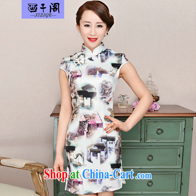 The sub-pavilion Western sub-cabinet dresses summer pack and dress in summer older female summer, short-sleeved qipao improved short skirt low on the truck load mother dresses white package for house article landscape XXL