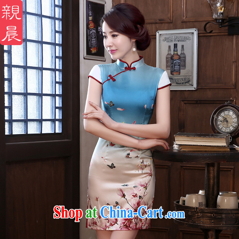 pro-am 2015 New Silk Dresses summer dresses female short daily sauna Silk Cheongsam dress improved stylish short 2 XL