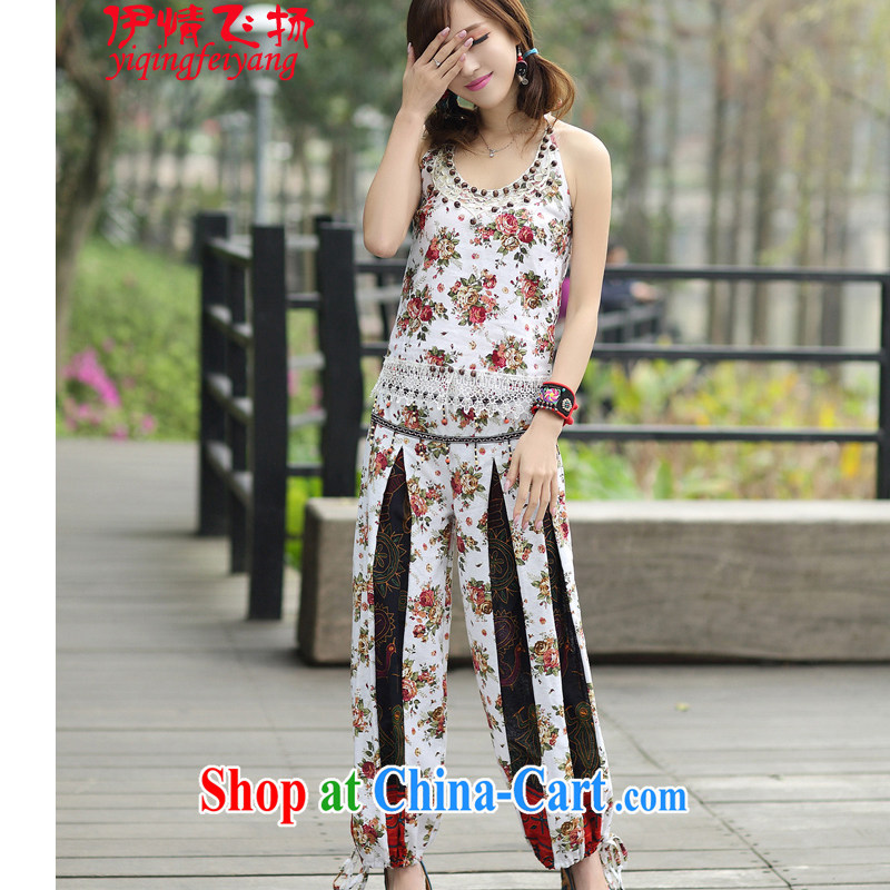 Red shinny 2015 National wind women's clothing sets new summer, small vest pants two-piece 8139 white other
