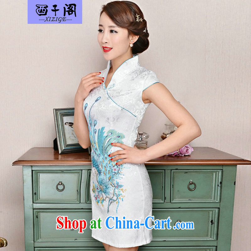 The sub-cabinet dresses summer pack and dress in summer older female summer, short-sleeved qipao improved short skirt low on the truck load mother dresses, burglary, Phoenix white orchids XXL