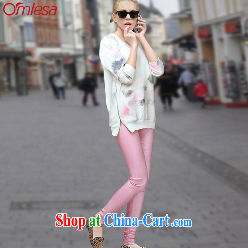 omlesa spring 2015 new female American wind Kit stitching stamp T-shirt pants Leisure package two-piece pink XL