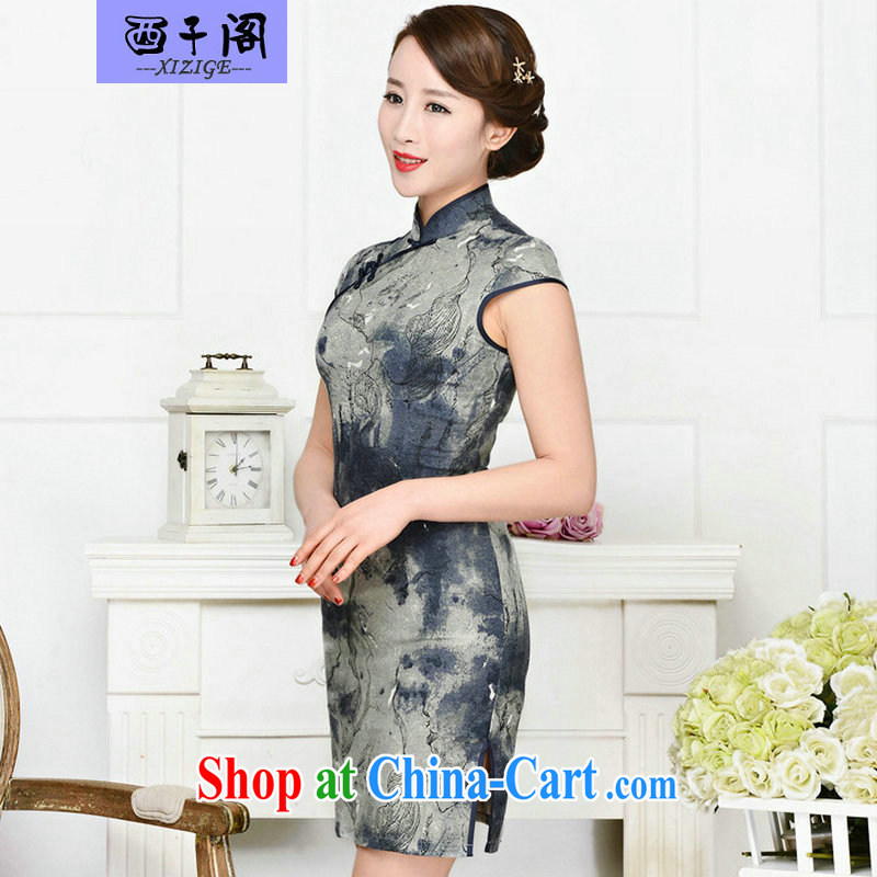 The sub-cabinet dresses summer pack and dress in summer older female summer, short-sleeved qipao improved short skirt low on the truck with her mother dress her husband blue collar package of Cheong Wa Dae career suit XXL