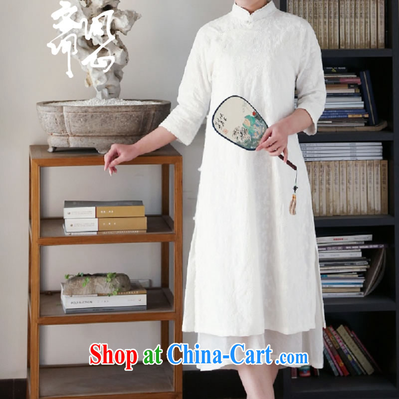 q heart Id al-Fitr in heart health female spring and summer new Chinese classic trim, net of embroidered dresses 1931 white dresses + skirt _617 XS code