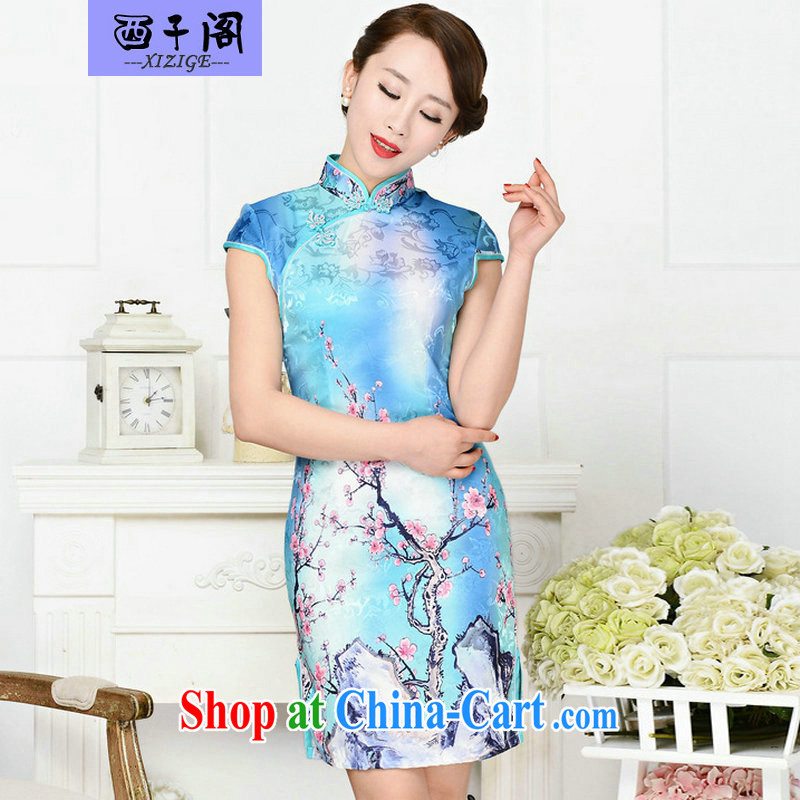 The sub-cabinet dresses summer pack and skirt, older women summer, short-sleeved qipao improved short skirt low on the truck load mother dresses, the red plum figure XL