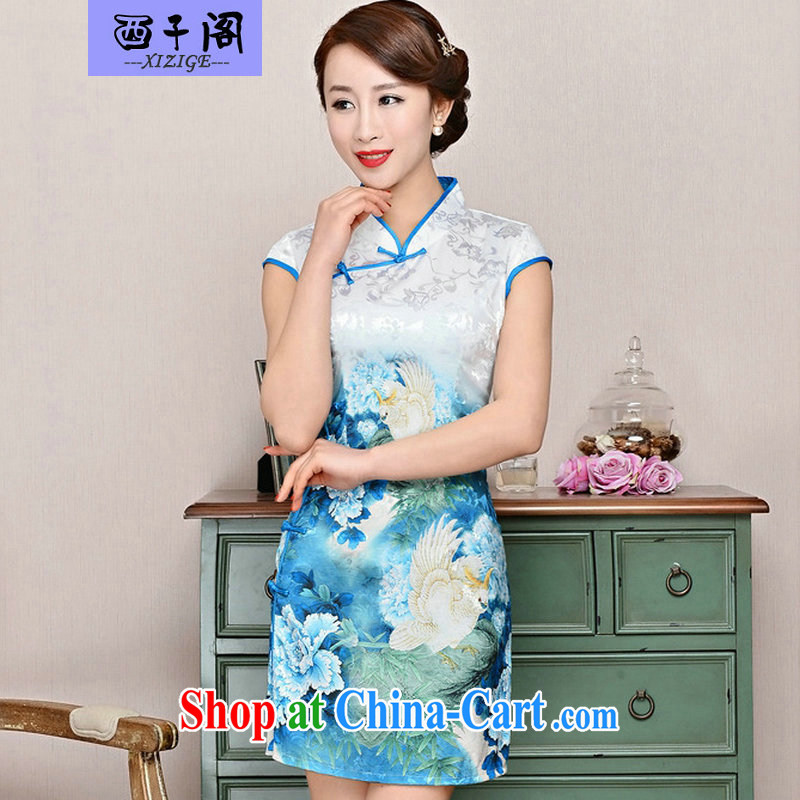 Dresses summer pack and skirt, older women summer, short-sleeved qipao improved short skirt low on the truck load mother dresses blue collar, small bird figure suit M