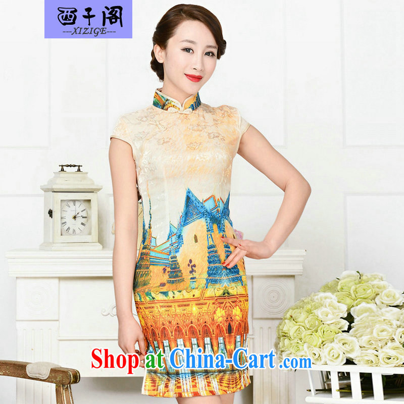 The sub-cabinet dresses summer pack and dress in summer older female summer, short-sleeved qipao improved short skirt low on the truck load mother dresses White Palace figure XXL