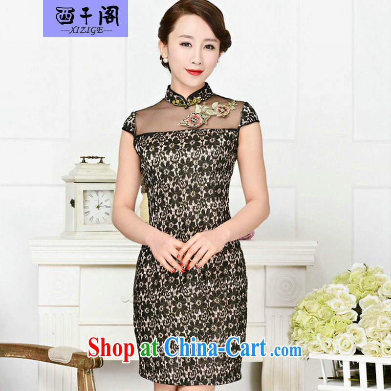 The sub-cabinet dresses summer pack and dress in summer older female summer, short-sleeved qipao improved short skirt low on the truck load mother dress black lace two flower Peony flower XXL