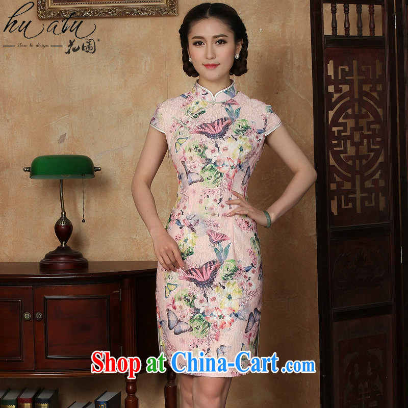 spend the summer new cheongsam dress Chinese Chinese lace improved daily, for butterfly short cheongsam dress as shown color XL