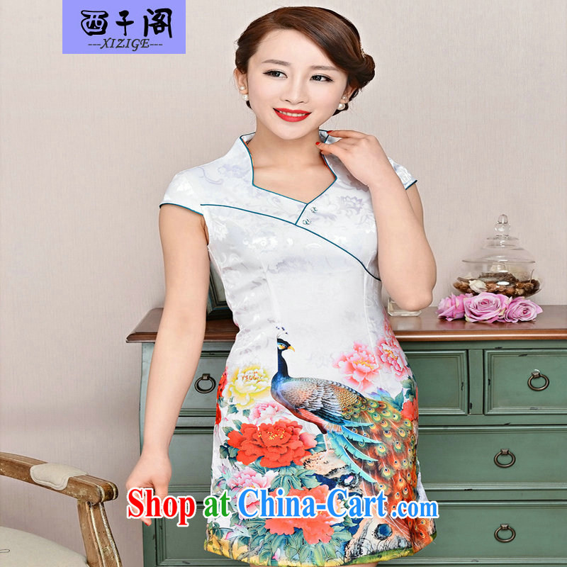 The sub-cabinet dresses summer pack and dress in summer older female summer, short-sleeved qipao improved short skirt low on the truck load mother dresses White Peacock peony flowers XXL