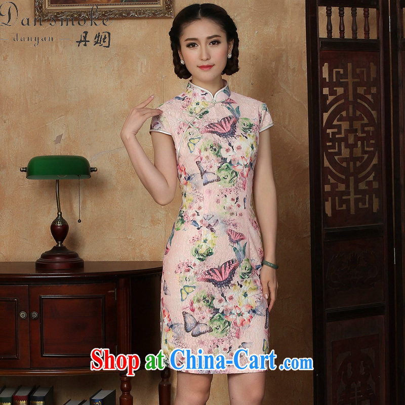 Dan smoke summer new cheongsam dress Chinese Chinese lace improved daily, for butterfly short cheongsam dress such as the color 2 XL