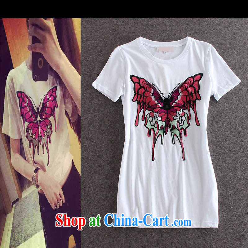 Black butterfly style women embroidery butterfly pattern round-collar short-sleeve, long T pension summer female burglary, 30,151 Y black L
