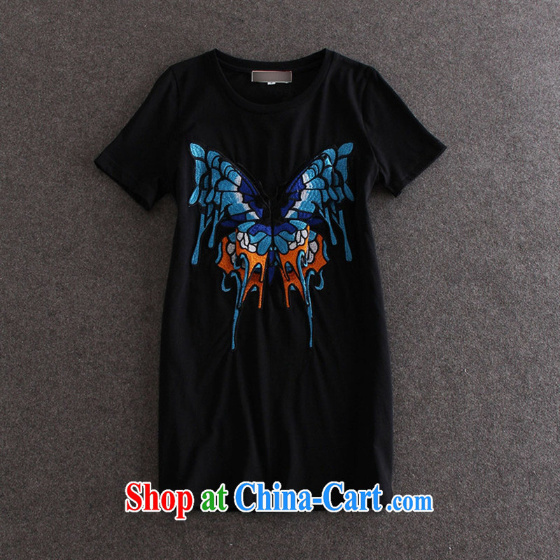 Black butterfly and stylish girl with embroidery butterfly pattern round-collar short-sleeve, long T pension summer female burglary, 30,151 Y black L, A . J . BB, shopping on the Internet