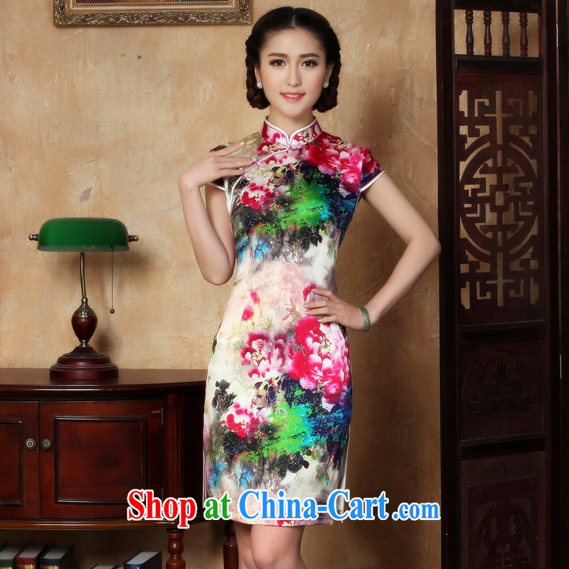 The absence of her wishes to 2015 new cheongsam dress summer heavy Silk Cheongsam dress short Y S 5120 2 XL