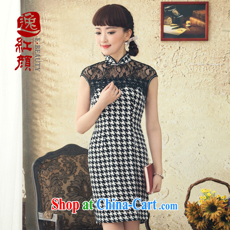 once and for all and fatally jealous dance the lace cheongsam dress retro elegant cheongsam dress spring and summer new improved stylish beauty black 2XL