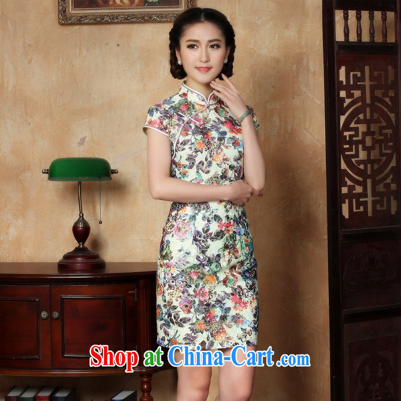 The cross-sectoral Windsor old dream new short-sleeved ballet Angel dresses skirts girls retro casual ethnic wind improved cheongsam summer daily Y L L 5121