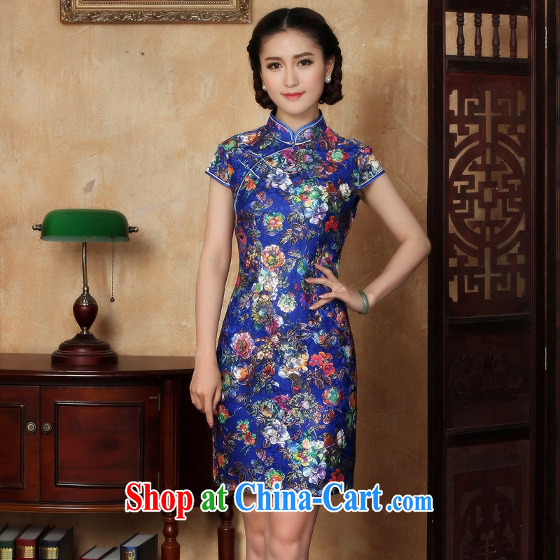 The cross-sectoral leaves her surplus new retro lace cheongsam dress Ethnic Wind stylish improved cheongsam daily Y L M 5122