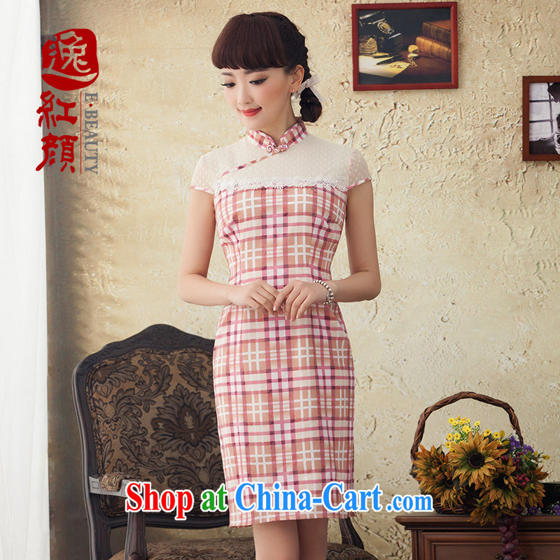once and for all and fatally jealous Rosemary lace the spell-color woven plaid new cheongsam dress 2015 summer cheongsam dress pink XL