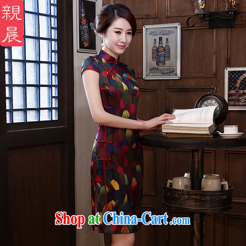 pro-am 2015 new spring and summer daily retro silk cultivation short stylish improved sauna Silk Cheongsam high short 2 XL