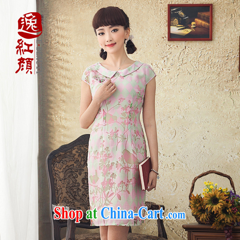 once and for all and fatally jealous flowers new cheongsam dress and elegant 2015 spring and summer dresses skirts improved stylish beauty pink L