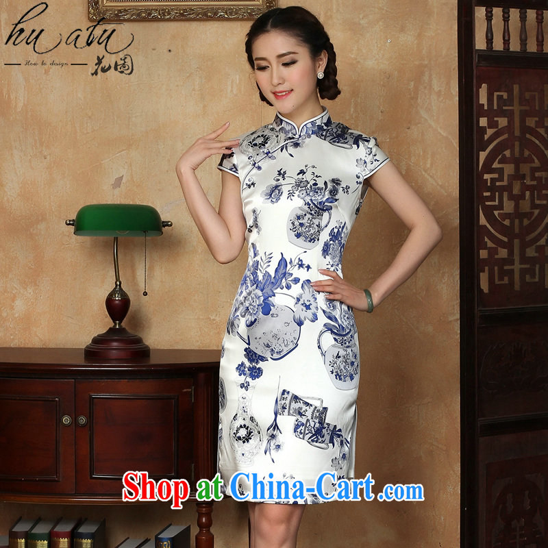 spend the summer new dress cheongsam silk Chinese improvement for the blue and white porcelain, silk and comfortable short cheongsam dress in figure 3XL