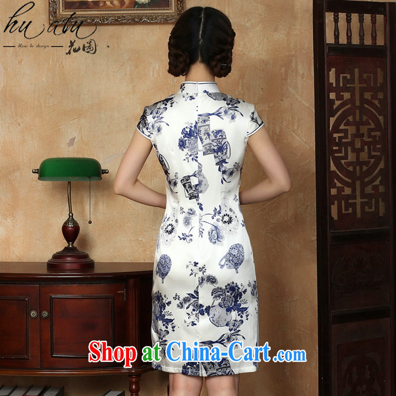 spend the summer new dress cheongsam silk Chinese improvement for the blue and white porcelain, silk and comfortable short cheongsam dress in figure 3XL, figure, and shopping on the Internet