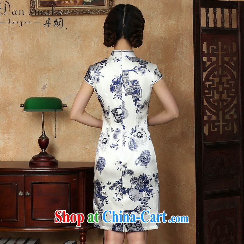 Bin Laden smoke summer new female cheongsam silk Chinese improved, for blue and white porcelain, silk and comfortable short cheongsam dress in figure 3XL, Bin Laden smoke, shopping on the Internet