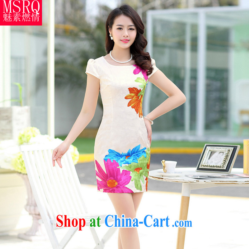 Quality of fuel, summer 2015 new female polyamide jacquard classic beauty retro Kit cheongsam dress dress beige XXL