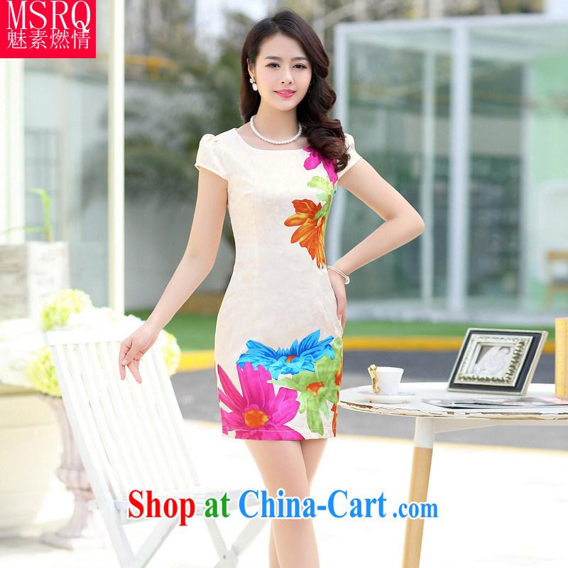 Quality of fuel, summer 2015 new female polyamide jacquard classic beauty retro Kit cheongsam dress dress beige XXL