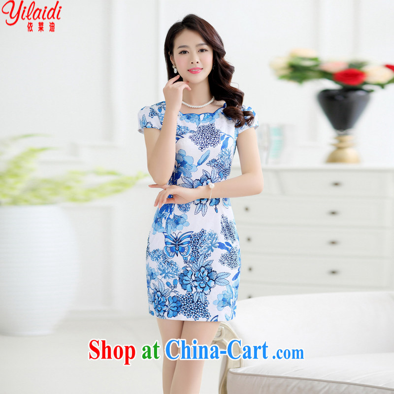 According to Tony BLAIR's 2015 summer New polyamide jacquard cultivating graphics thin round-collar Chinese Dress girls royal blue XXL