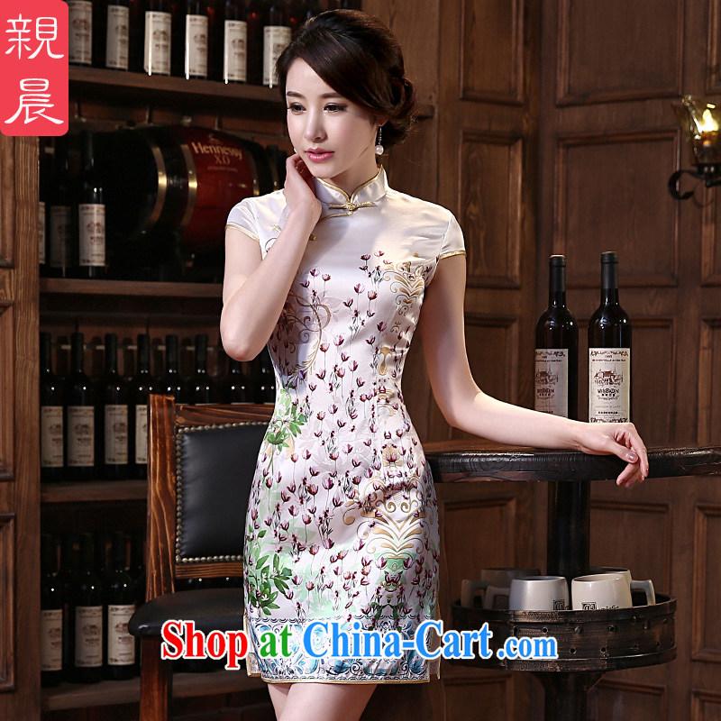 pro-am 2015 new daily standard sauna silk retro short Beauty Fashion improved spring and summer Silk Cheongsam short 2 XL