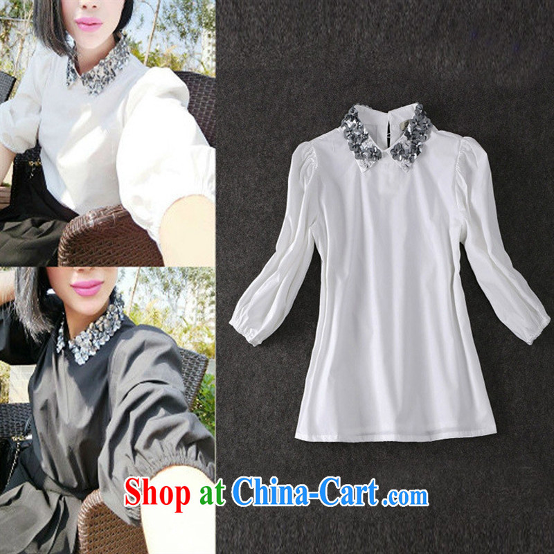 Ya-ting store as soon as possible elections 2015 spring and summer new women fashion in Europe and America, blasting for the Pearl River Delta _PRD 100a cotton shirt white L