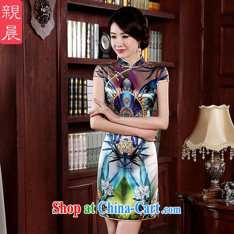 pro-am 2015 new spring and summer sauna silk daily retro beauty short, high quality silk stylish improved cheongsam short 2 XL