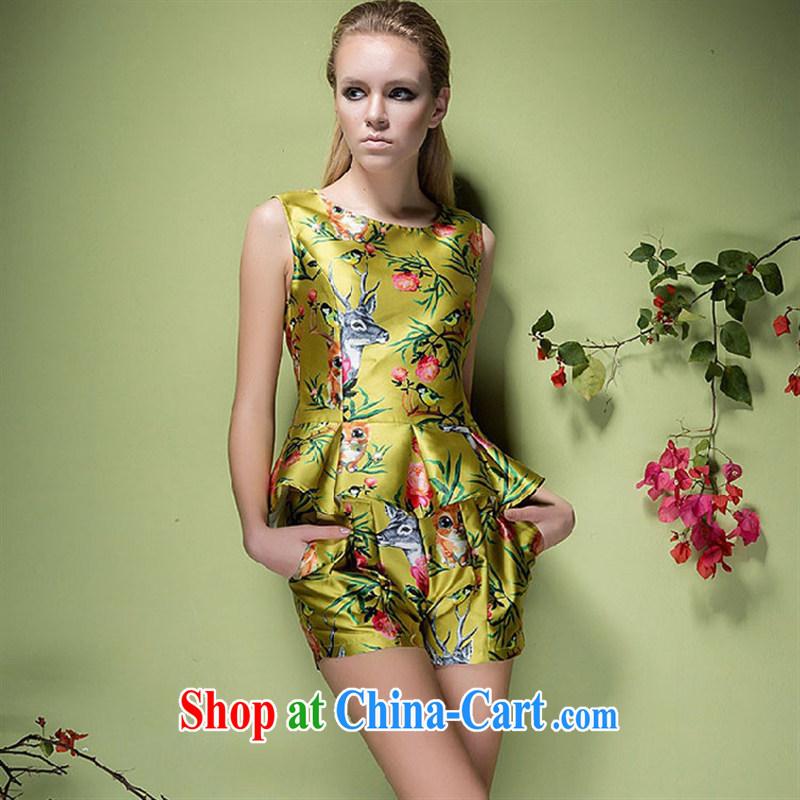hamilton 2015 European site summer new women who decorated flouncing sleeveless vest T-shirt + same color shorts picture color L